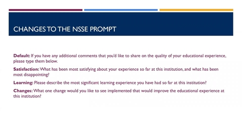 Thumbnail for entry Hearing the Students' Voice: Using NSSE Comments: