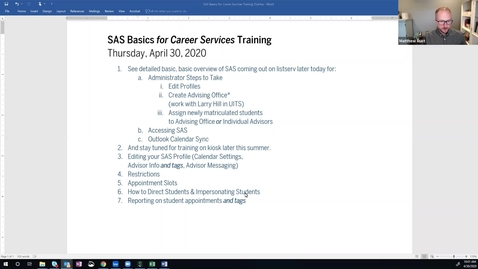 Thumbnail for entry SAS for Career Services Training | 04.30.2020