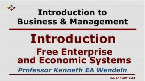 Thumbnail for entry X100 01-3 Free Enterprise and Economic Systems