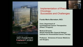 "Thumbnail for entry IUSCC_Grand_Rounds_20170217.mp4 - ""Implementing personalized cancer therapy - opportunities and challenges""  Funda Meric-Bernstam, MD"