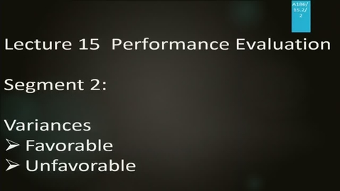 Thumbnail for entry A186 15-2: Performance Evaluation