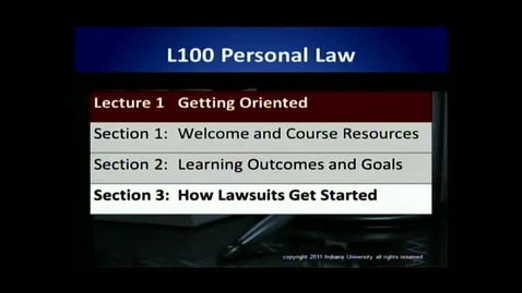 Thumbnail for entry L100 01-3 How Lawsuits Get Started