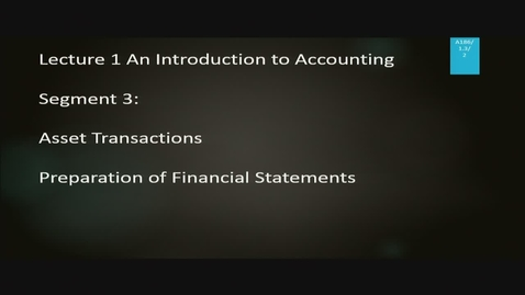 Thumbnail for entry A186 01-3 An Introduction to Accounting
