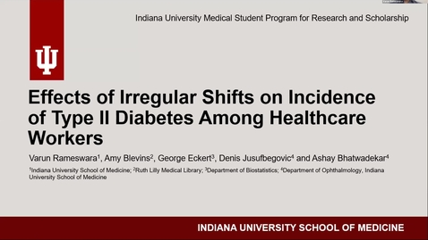 Thumbnail for entry Effects of irrgular shifts on incidence of Type II diabetes among healthcare workers