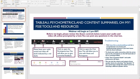 Thumbnail for entry Tableau, Psychometrics, and Content Summaries, Oh My! FSSE Tools and Resources