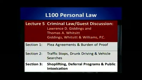 Thumbnail for entry L100 05-3 Shoplifting, Deferral Programs & Public Intoxication
