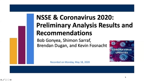 Thumbnail for entry NSSE & Coronavirus 2020: Preliminary Analysis Results and Recommendations