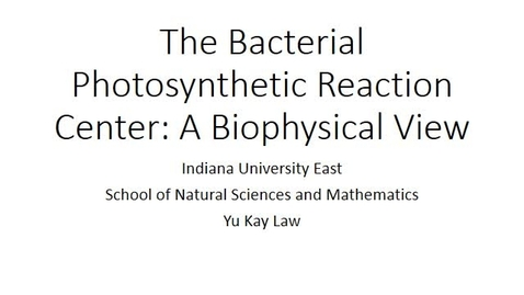 Thumbnail for entry The Bacterial Photosynthetic Reaction Center - A Biophysical Perspective
