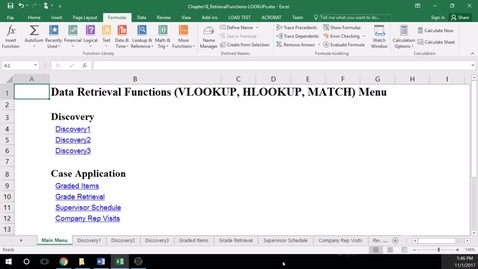 Thumbnail for entry K201 LAB Class 18 - Retrieval Functions (VLOOKUP, HLOOKUP, MATCH)