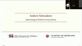 "Thumbnail for entry PEDS Grand Rounds 9/20/2017: ""Epidemiology of Pediatric Urinary Stones"" Andrew Schwaderer, MD"
