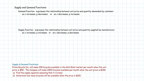 Thumbnail for entry Functions & Models: Supply & Demand Equations