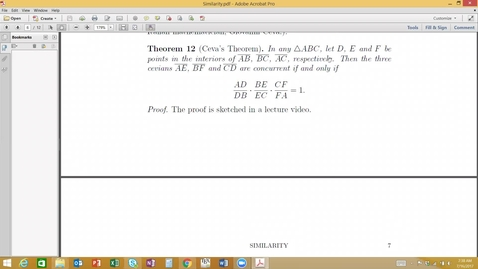 Thumbnail for entry Similarity- Sketch of Proof of Ceva's Theorem