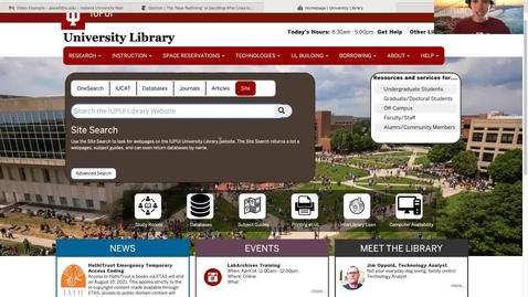 Thumbnail for entry Search Tabs on New Library Website