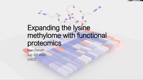 "Thumbnail for entry IUSCCC Virtual Seminar Series, July 30, 2020 - Evan Cornett, Ph.D. ""Expanding the lysine methylome with functional proteomics""  -"