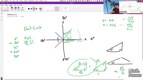 Thumbnail for entry FA20 M126 - Week 6 Session 2 - Figuring Out Trig Values by Hand