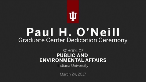 Thumbnail for entry Paul H. O'Neill Graduate Center Dedication Ceremony