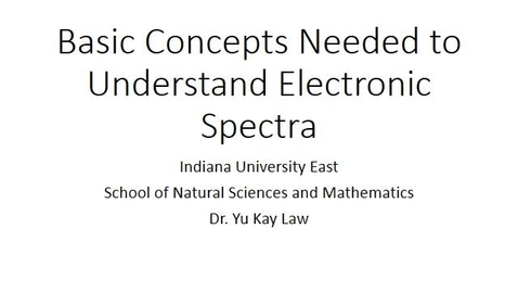Thumbnail for entry Basic Concepts Needed to Understand Electronic Spectra