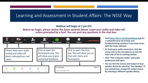 Thumbnail for entry Learning & Assessment in Student Affairs: The NSSE Way
