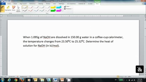 Thumbnail for entry Example Calculation Involving Calorimetry
