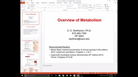 Thumbnail for entry EVV, MCT, 10/13/16, Overview of metabolism, Ram
