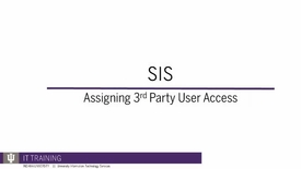 Thumbnail for entry Assigning SIS 3rd Party User Access