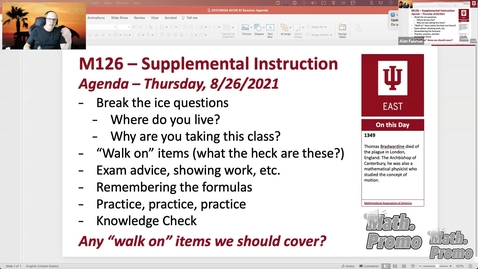 Thumbnail for entry FA21 M126 Week 1 Session 1 – Exam Advice and Section 6.1
