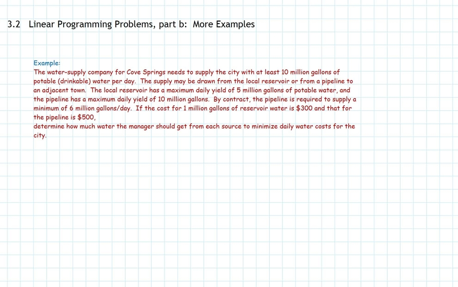 Linear Programming Problems Part B More Examples Indiana University