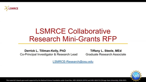 Thumbnail for entry LSMRCE Research Grant RFP