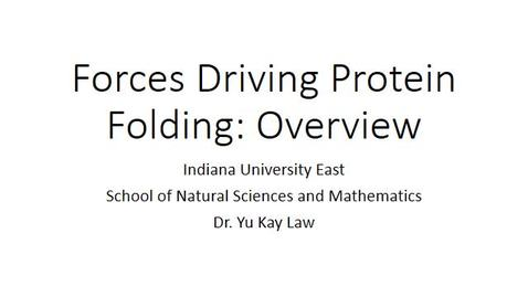Thumbnail for entry Forces Driving Protein Folding: An Overview