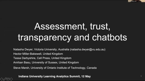 Thumbnail for entry Assessment, Trust, Transparency and Chatbots