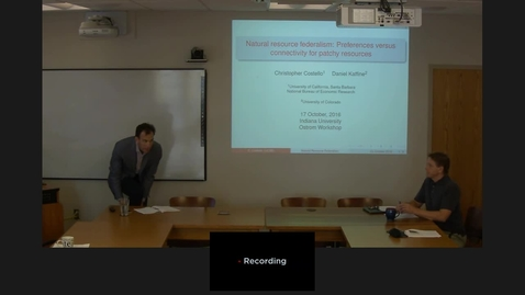 """Thumbnail for entry 10/17/2016 Colloquium Series - Christopher Costello: """"Natural Resource Federalism: Preferences versus Connectivity for Patchy Resources"""""""