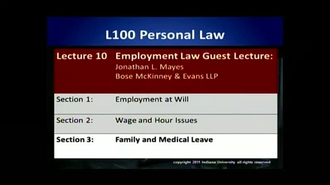 Thumbnail for entry L100 10-3 Family and Medical Leave