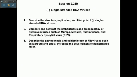 Thumbnail for entry IN HD 3/7/2017: (-) single-stranded RNA viruses, Antivirals