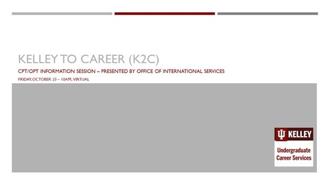 Thumbnail for entry K2C for International Students: CPT/OPT Information Session