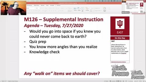Thumbnail for entry SU21 M126 Week 10 Session 1 - 8.1, 8.2, & Quiz Prep