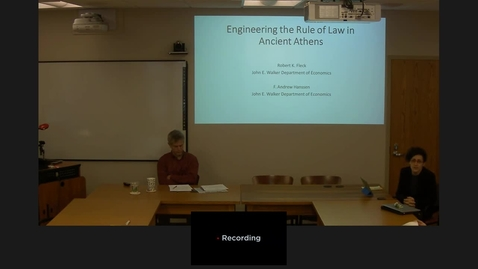 "Thumbnail for entry 01/23/2017 Colloquium Series - F. Andrew Hanssen: ""Engineering the Rule of Law in Ancient Athens"""