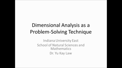 Thumbnail for entry Dimensional Analysis - One Conversion Factor Only