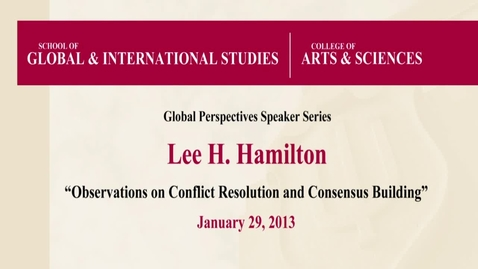 Thumbnail for entry Lee Hamilton presents inaugural talk in Global Perspectives Speaker Series at IU