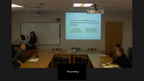 """Thumbnail for entry 02/06/2017 Colloquium Series - Claudia Avellaneda: """"Local Government Effectiveness: Assessing the Role of Administrative Capacity"""""""