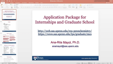 Thumbnail for entry Application Package for Internship and Graduate School