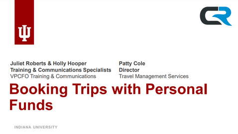 Thumbnail for entry Booking Trips With Personal Funds