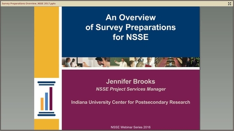 Thumbnail for entry An Overview of Survey Preparations for NSSE