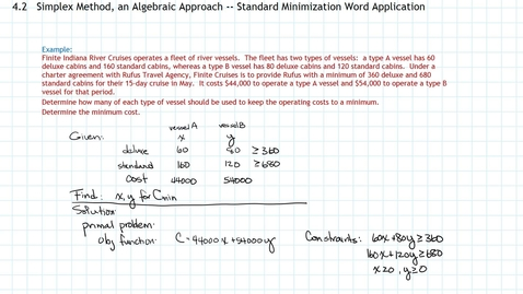 Thumbnail for entry Simplex Method, Standard Minimization, Part c, Word Application