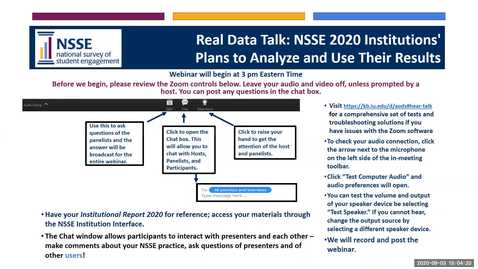 Thumbnail for entry Real Data Talk: NSSE 2020 Institutions' Plans to Analyze and Use Their Results to post