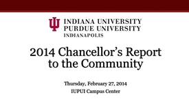 Thumbnail for entry 2014 IUPUI Report to the Community