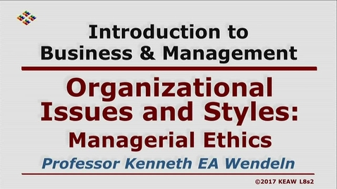 Thumbnail for entry W200 08-2 Managerial Ethics