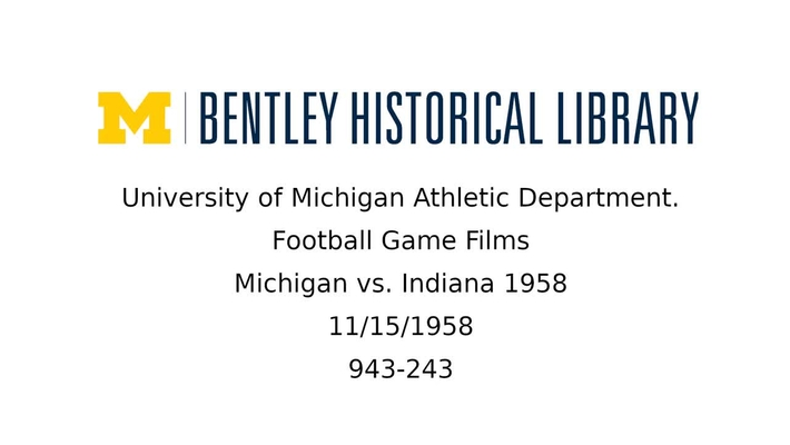 University of Michigan Football vs. Indiana 1958
