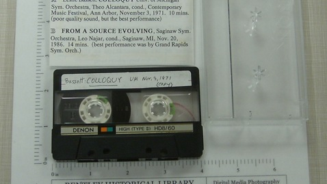 Thumbnail for entry Leslie Basset: Colloquy (UM copy, 1971) (best), From a Source Evolving (Saginaw) [Side 1]
