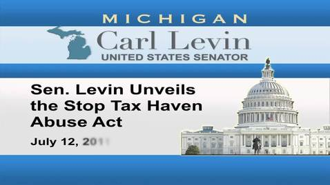 Thumbnail for entry Congressional Papers, 1964-2015 > 2009-2014 > Audiovisual materials > YouTube videos > Sen. Levin unveils the Stop Tax Haven Abuse Act, 2011 July 12