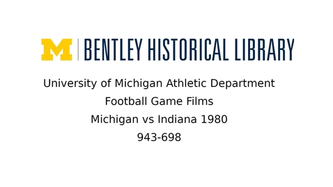 Thumbnail for entry University of Michigan vs. Indiana  1980